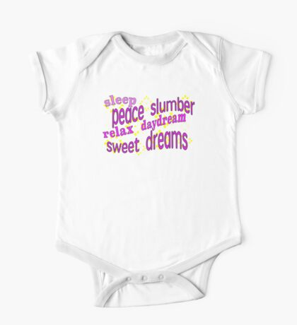 Sleepy messages in dreamy pinks. Dream One Piece - Short Sleeve