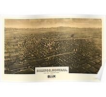 Panoramic Maps Billings Montana county seat of Yellowstone County 1904 Poster