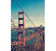 Golden Gate Bridge - through the fence Photographic Print