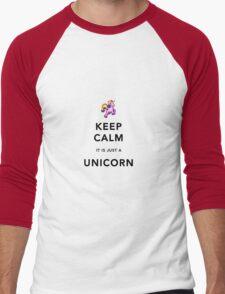 Keep Calm is Just a Unicorn  Men's Baseball ¾ T-Shirt