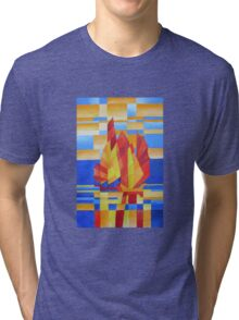 Sailing on the Seven Seas so Blue Cubist Abstract Tri-blend T-Shirt