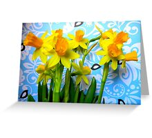 Daffodils with Blue and Birds  Greeting Card