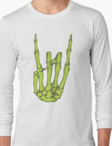 Rock On Skeleton Hand - Green Long Sleeve T-Shirt