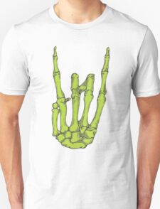Rock On Skeleton Hand - Green T-Shirt