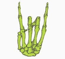 Rock On Skeleton Hand - Green Unisex T-Shirt