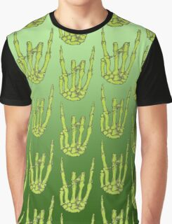 Rock On Skeleton Hand - Green Graphic T-Shirt