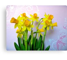 Daffodils with Pink and Swirls Canvas Print