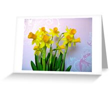 Daffodils with Pink and Swirls Greeting Card