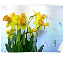 Daffodils with Birds on a Wire Poster