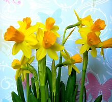 Daffodils with Colorful Butterflies by CrystalFanning