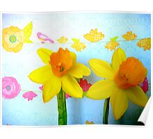 Daffodils with Birds and Flowers Poster