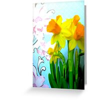 Daffodils with Blue and Flowers Greeting Card