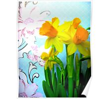 Daffodils with Blue and Flowers Poster