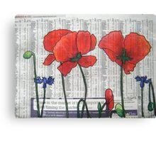 Newspaper Poppies Canvas Print