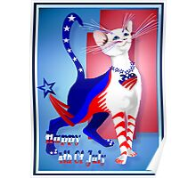 4th Of July American Kitty Poster