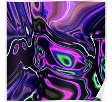 retro abstract northern light rays neon purple green Poster