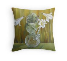 Lily in glass vase Throw Pillow