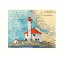 Scarlett Pt Lighthouse BC Canada Map Art Cathy Peek Art Print