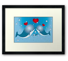 Lovely card with whales Framed Print