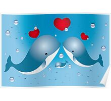 Lovely card with whales Poster