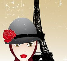 Vintage poster with beautiful girl in paris by schtroumpf2510