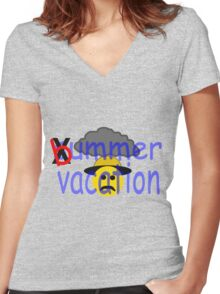 Bummer Vacation Women's Fitted V-Neck T-Shirt