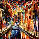 AMSTERDAM - NIGHT CANAL - OIL PAINTING BY LEONID AFREMOV by Leonid  Afremov