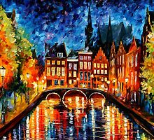 AMSTERDAM - CANAL - OIL PAINTING BY LEONID AFREMOV by Leonid  Afremov
