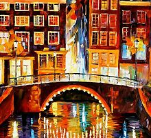 AMSTERDAM - LITTLE BRIDGE - OIL PAINTING BY LEONID AFREMOV by Leonid  Afremov