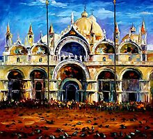 VENICE - PIGEONS  ON  SAN MARCO SQUARE - OIL PAINTING BY LEONID AFREMOV by Leonid  Afremov