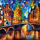 THE BRIDGES OF AMSTERDAM - OIL PAINTING BY LEONID AFREMOV by Leonid  Afremov