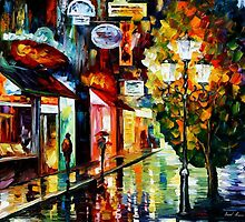AMSTERDAM - NIGHT RAIN - OIL PAINTING BY LEONID AFREMOV by Leonid  Afremov