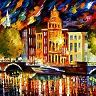AMSTERDAM - AUTUMN  REFLECTIONS - OIL PAINTING BY LEONID AFREMOV by Leonid  Afremov