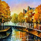 FALL IN AMSTERDAM - OIL PAINTING BY LEONID AFREMOV by Leonid  Afremov