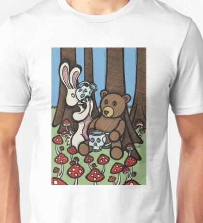 Teddy Bear and Bunny - The Mushroom Forest Unisex T-Shirt