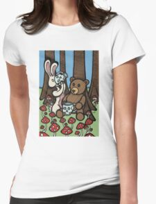 Teddy Bear and Bunny - The Mushroom Forest Womens Fitted T-Shirt