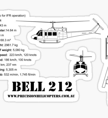 Bell 212 Twin Huey Helicopter Sticker