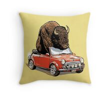 Bison in a Mini 2015 Throw Pillow