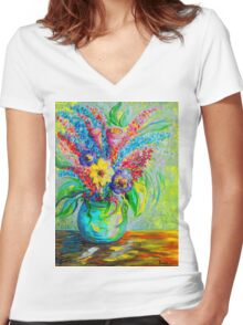 Spring in a Vase Women's Fitted V-Neck T-Shirt