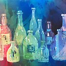 Colorful Bunch Of Bottles by arline wagner