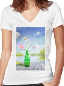 Mid Summer Women's Fitted V-Neck T-Shirt