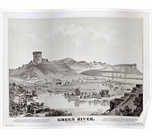 Panoramic Maps View of Green River Wyoming Territory looking north Poster