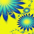 Yellow and Blue Flowers by Beatriz  Cruz