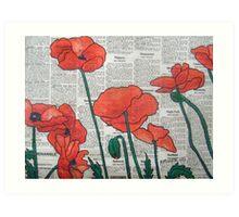 Newspaper Poppies II Art Print