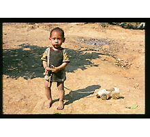 Boy with a Homemade Toy Photographic Print