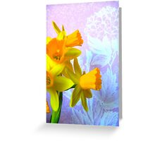 Daffodils and Purple Flowers Greeting Card