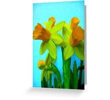 Daffodils with Blue Greeting Card