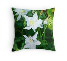 White Columbine with Tiny Insect Throw Pillow