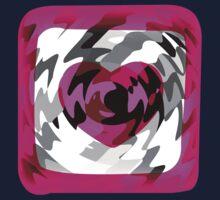 Funky Heart Art Design Abstract One Piece - Short Sleeve