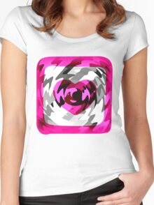 Funky Heart Art Design Abstract Women's Fitted Scoop T-Shirt